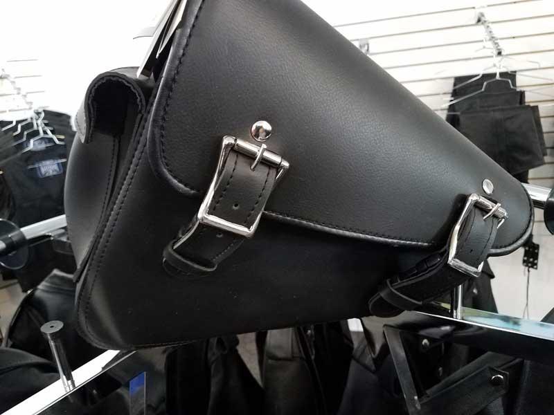 Black leather sportster wing arm bag mount