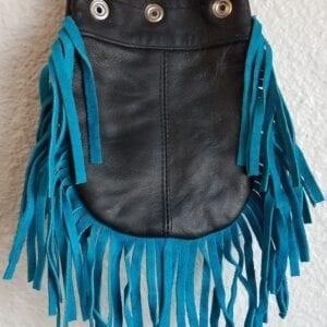 Black waste bag with blue fringe tassels
