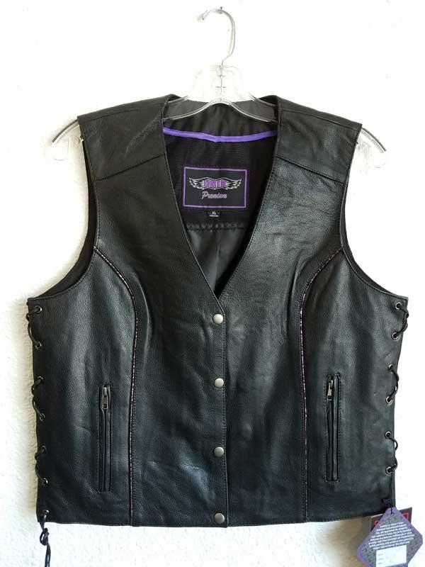 Women's black vest with side laces in purple