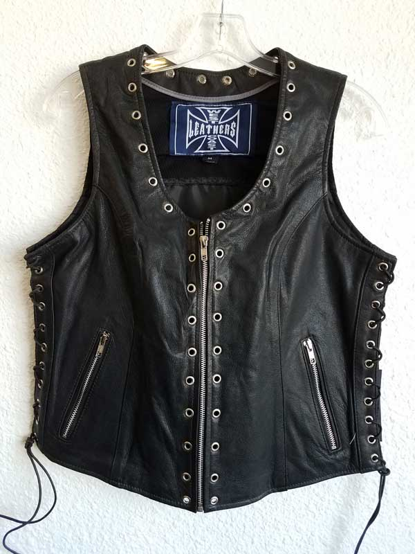 Women's vest with silver holes