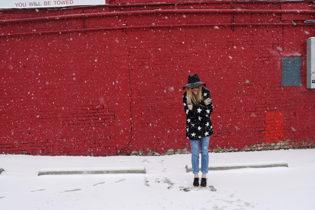 faux fur coat with stars
