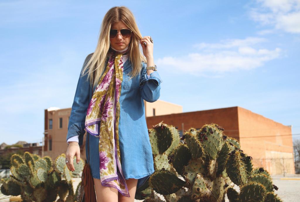 denim dress and neck scarf