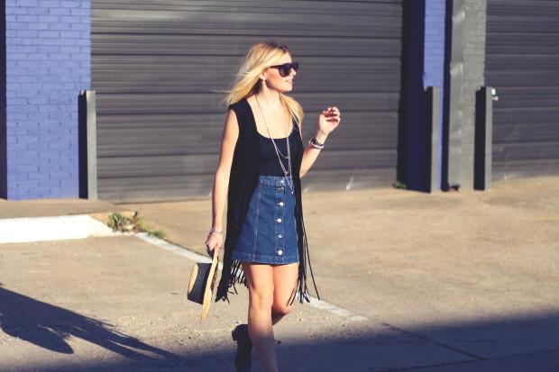 a line denim button front skirt and fringe suede vest