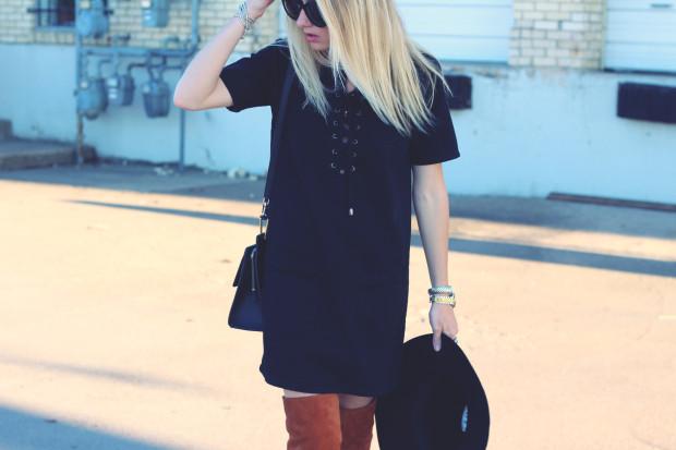 black denim topshop tie dress