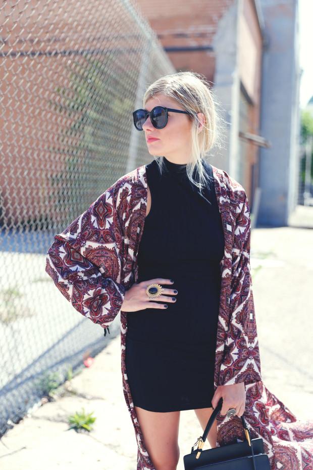 bodycon dress and kimono