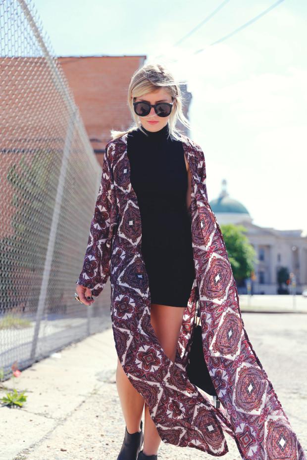 bodycon dress and missguided kimono