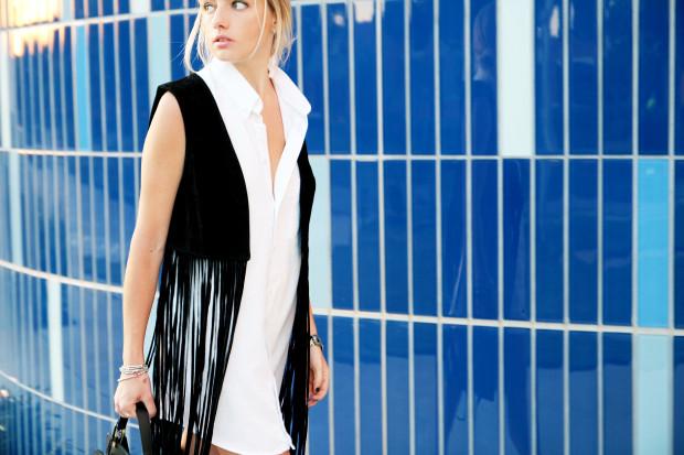 fringe suede vest and oxford shirt dress high end hippie