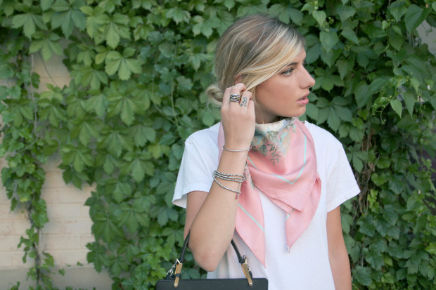 high end hippie vintage scarf and shashi jewelry