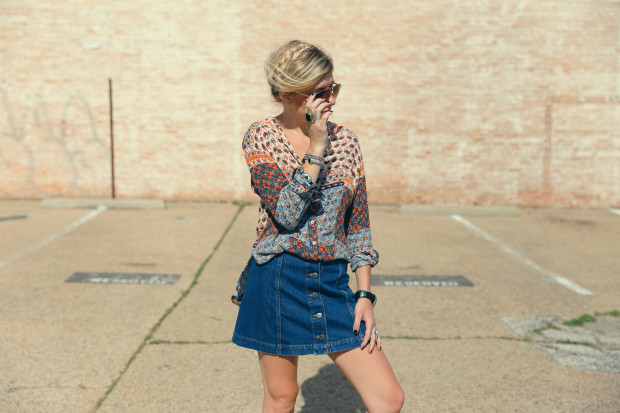 topshop 70's denim skirt