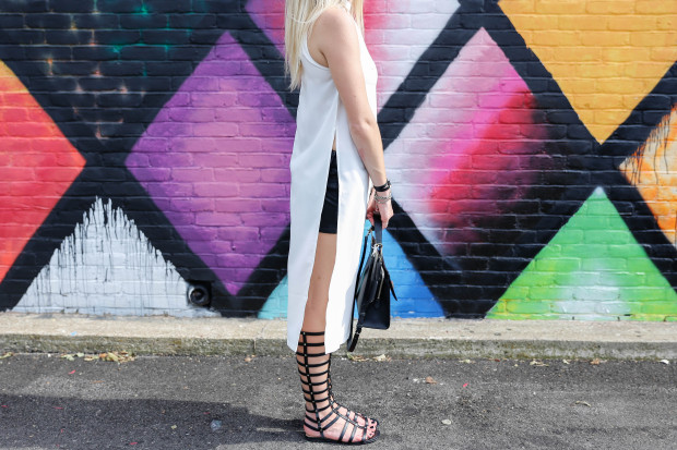 gladiators high slit top and leather shorts