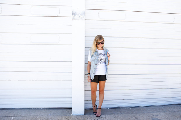 denim vest and leather shorts2