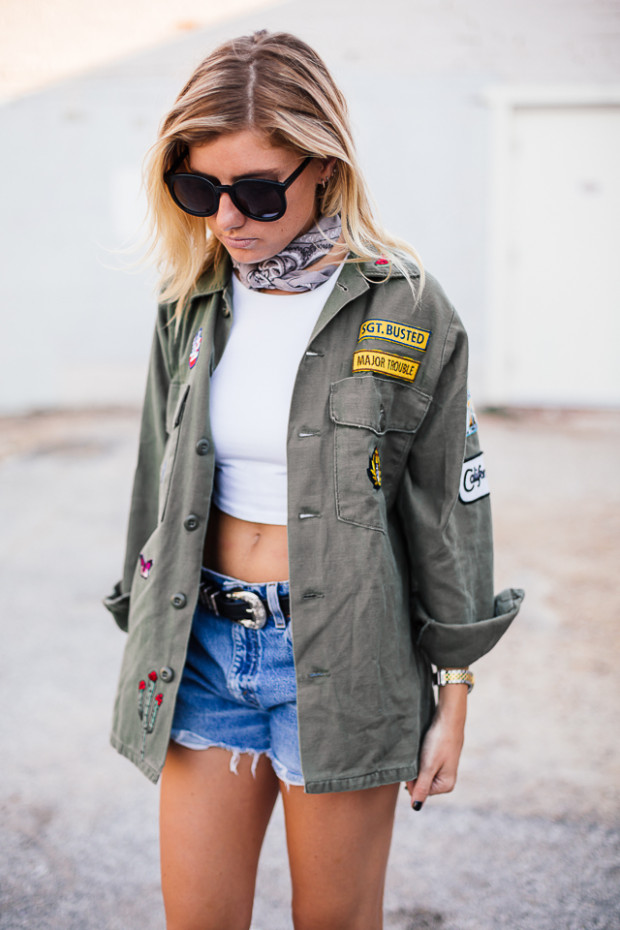 army jacket and cutoffs