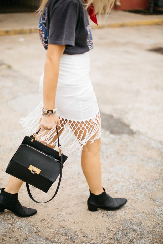 Fringe Wrap Pencil Skirt