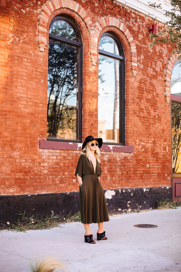 plunging knit dress and mules