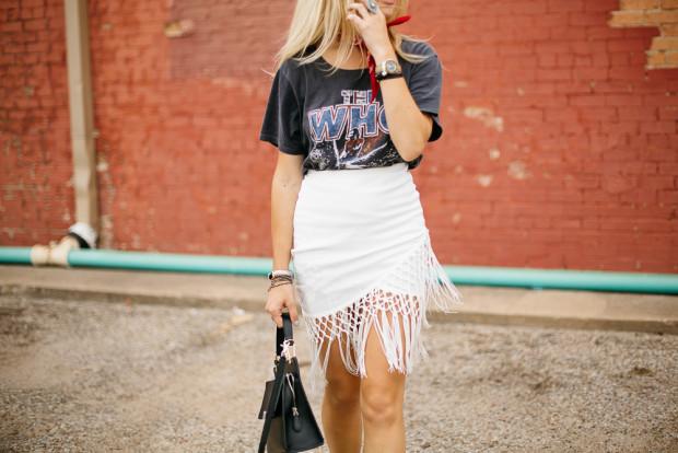 white pencil skirt with fringe