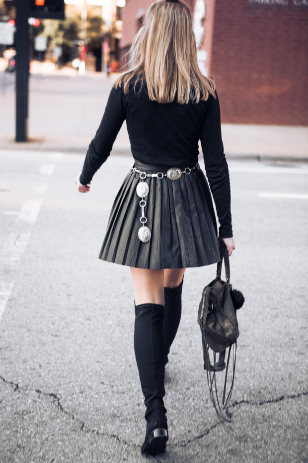pleated leather skirt and concho belt