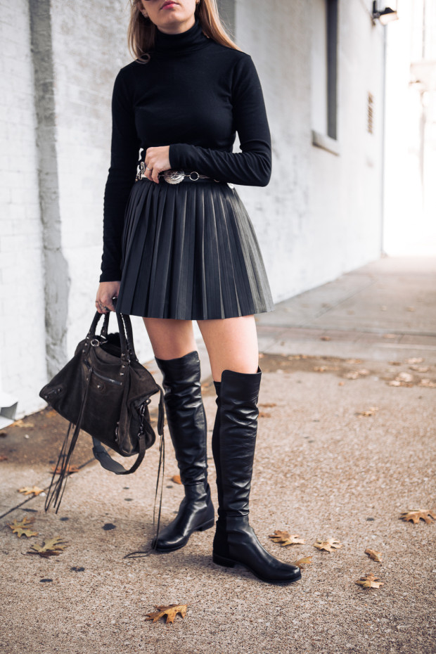 pleated leather skirt and knee highs
