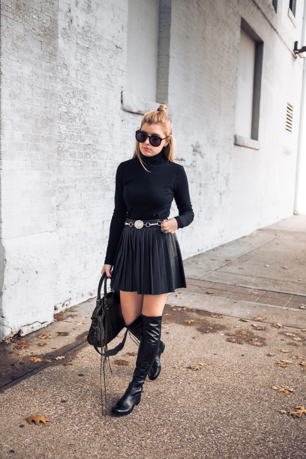 pleated leather skirt and leather knee highs