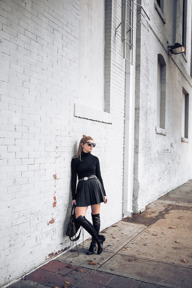 stuart weitzman boots and leather pleated skirt