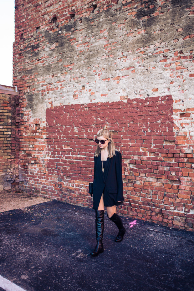 tuxedo blazer and knee high boots