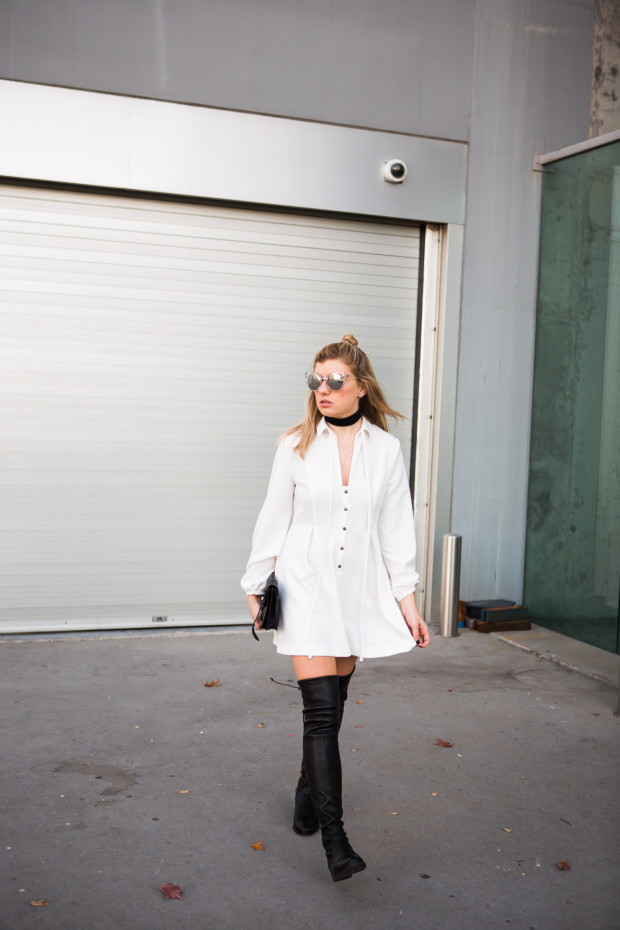 leather knee highs and white mini dress