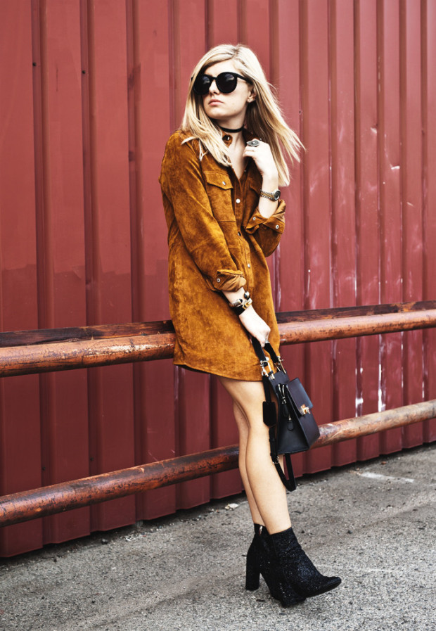 suede button up dress 2