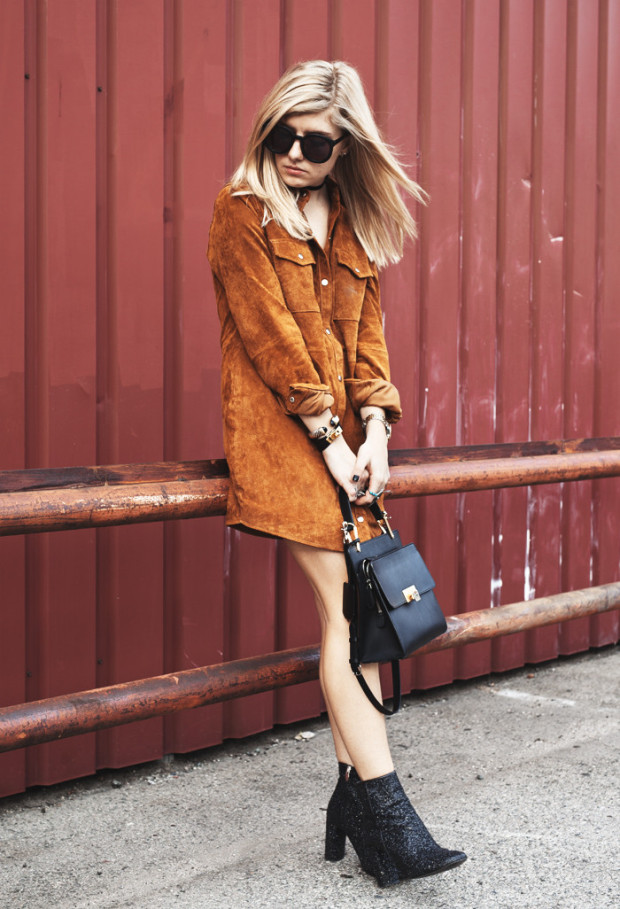 suede button up dress