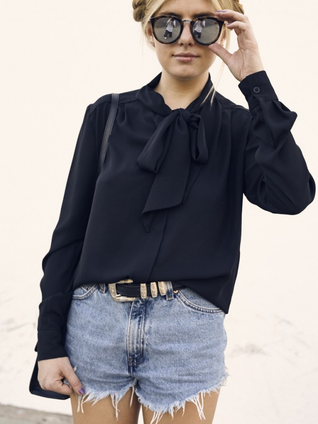french connection black tie neck top