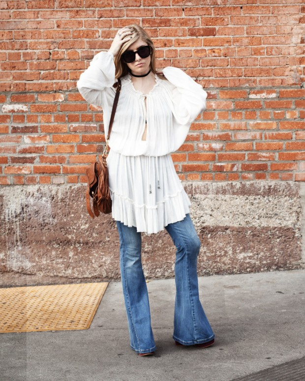 white free people tunic and bell bottoms