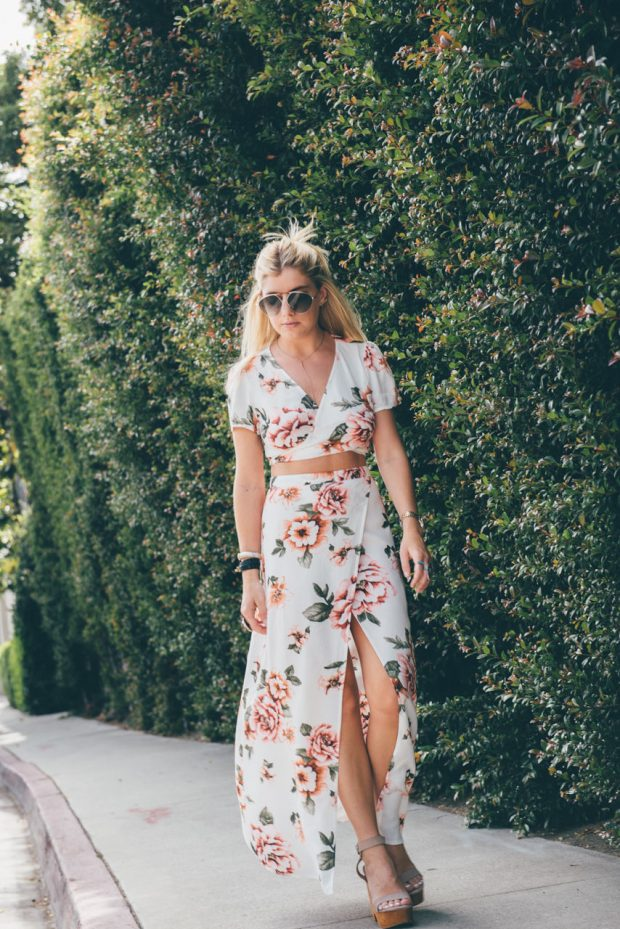 forever 21 floral crop top and matching maxi skirt