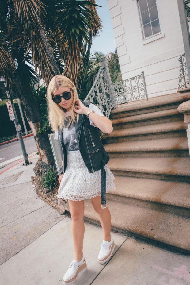 mini skirt and stuart weitzman Elyse Cutout Platform Shoes