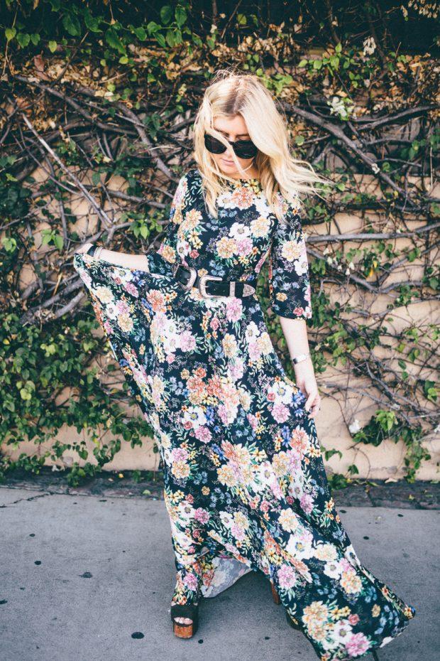 airy silk floral maxi dress