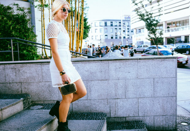 affordable white lace mini dress