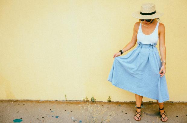 denim midi skirt and bodysuit