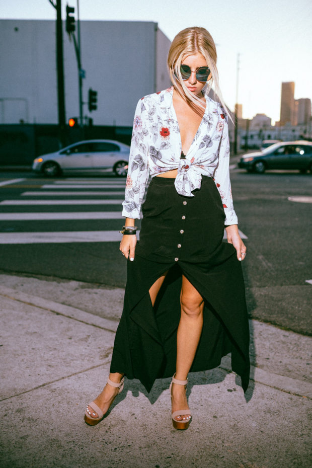 knotted blouse and maxi skirt