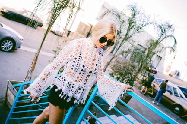 verge girl crotchet top in white