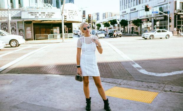 white lace mini dress and combat boots