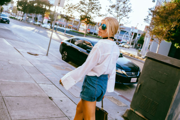 wide sleeve blouse and denim mini shorts