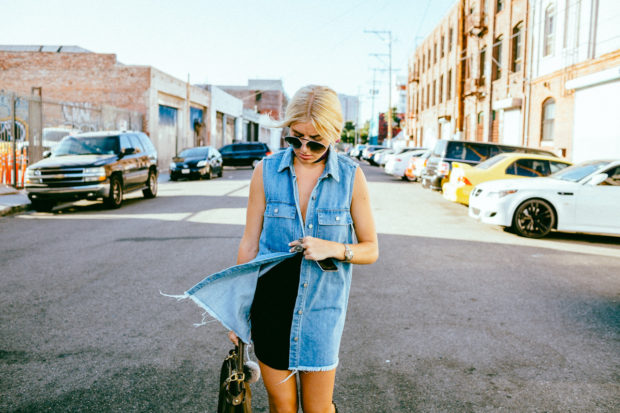 TINSEL Frayed Chambray Shirtdress with buttons