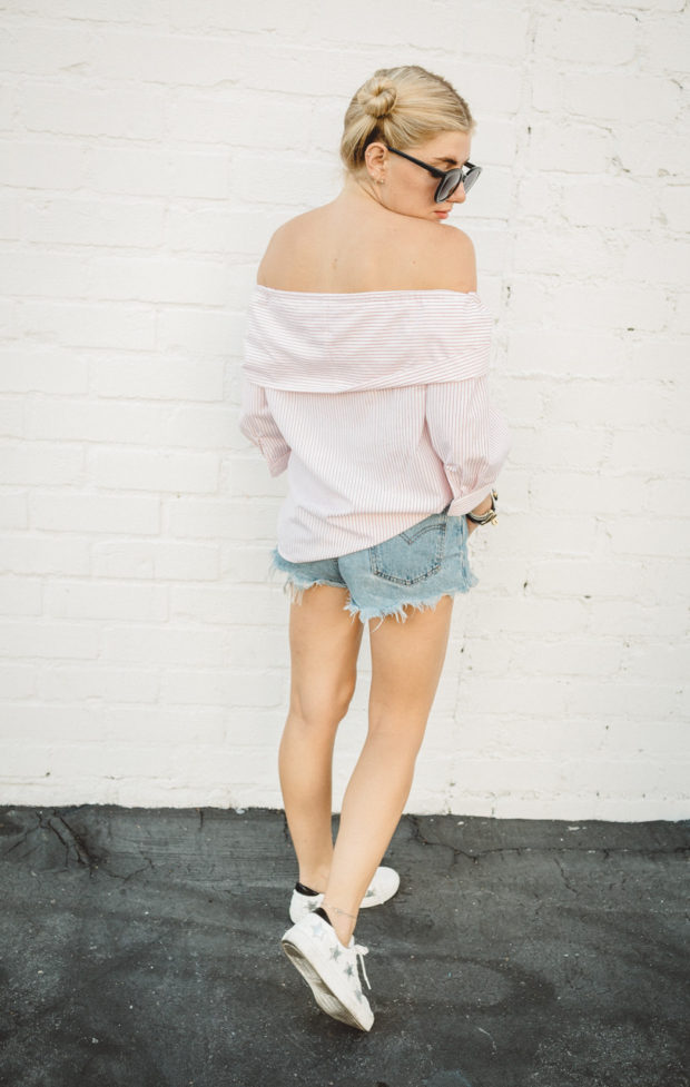 off the shoulder top and cut offs