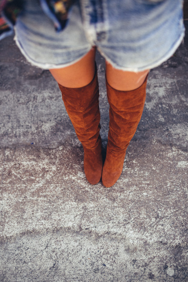 denim shorts and over the knee suede boots
