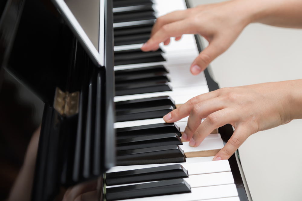 Pianist in a recording studio