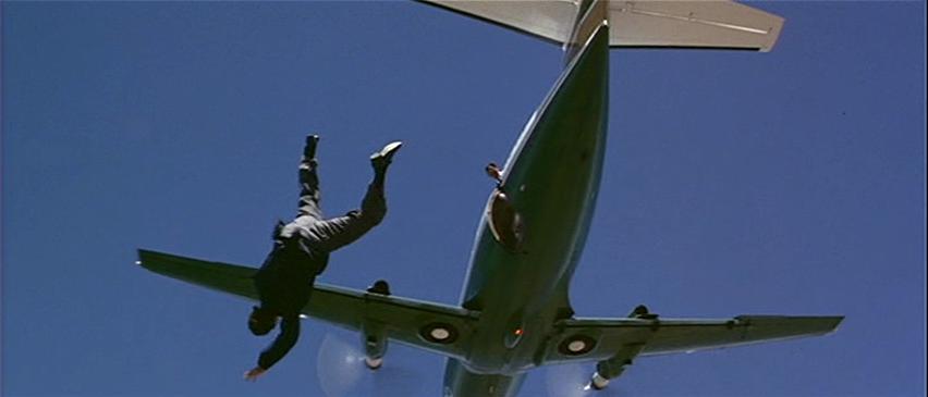 James Bond jumping off a propeller