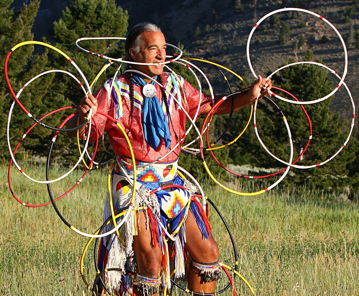 Kevin Locke performs Hoop Dance. Jamestown Settlement is hosting an American Indian Intertribal PowWow Oct. 1-2, 2016