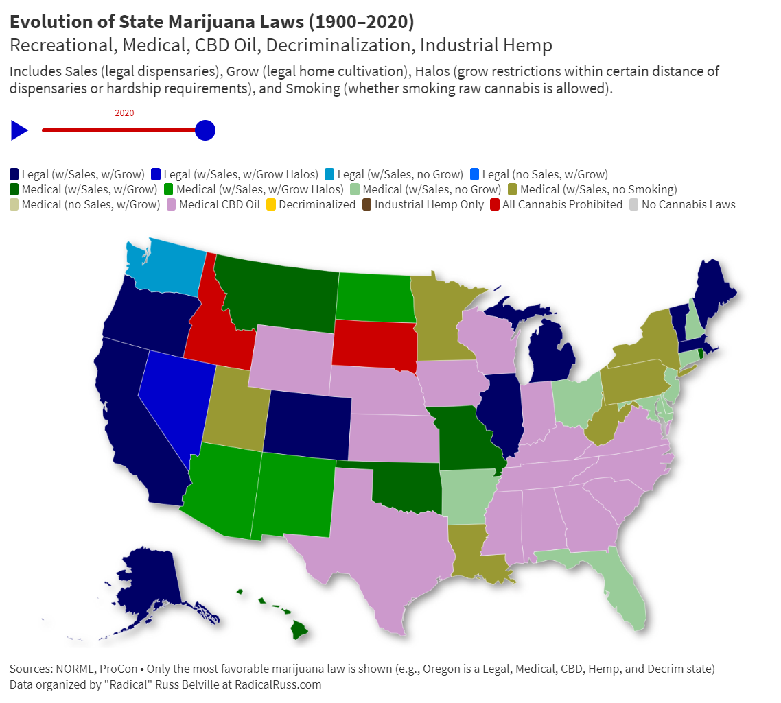 Evolution of State Marijuana Laws (1900–2020)