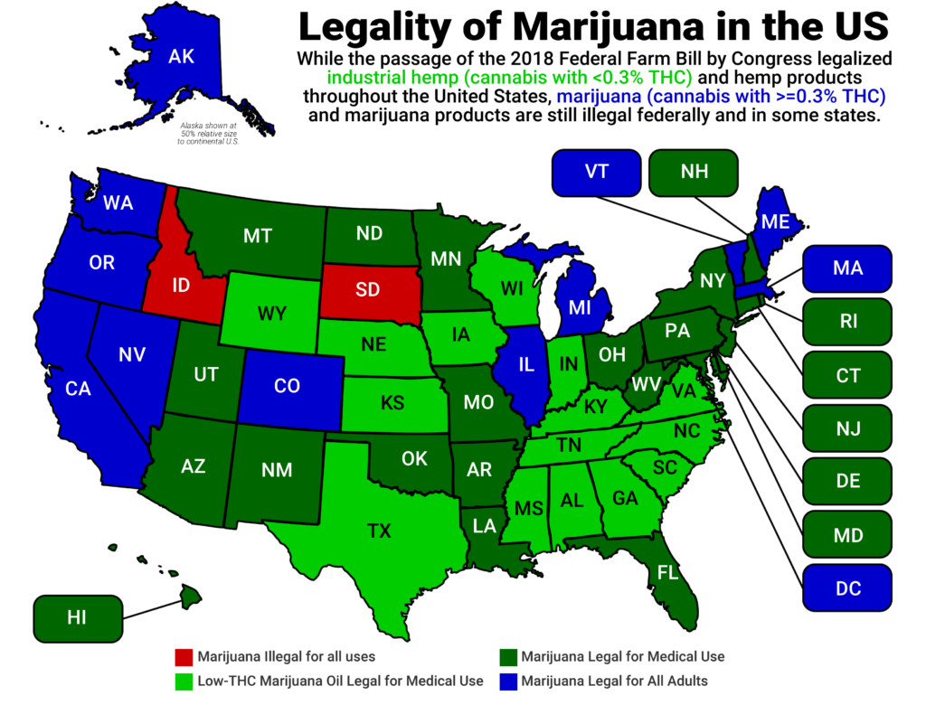 US Map by Marijuana Acceptance