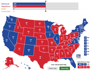 """Michael Moore's """"Rust-Belt Brexit"""" 2016 election scenario, where Trump flips WI+MI+OH+PA from the 2012 election results."""