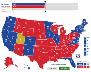 """Michael Moore's """"Rust-Belt Brexit"""" electoral map if Gary Johnson takes Utah, denying both Clinton and Trump the 270 electoral votes needed to win."""