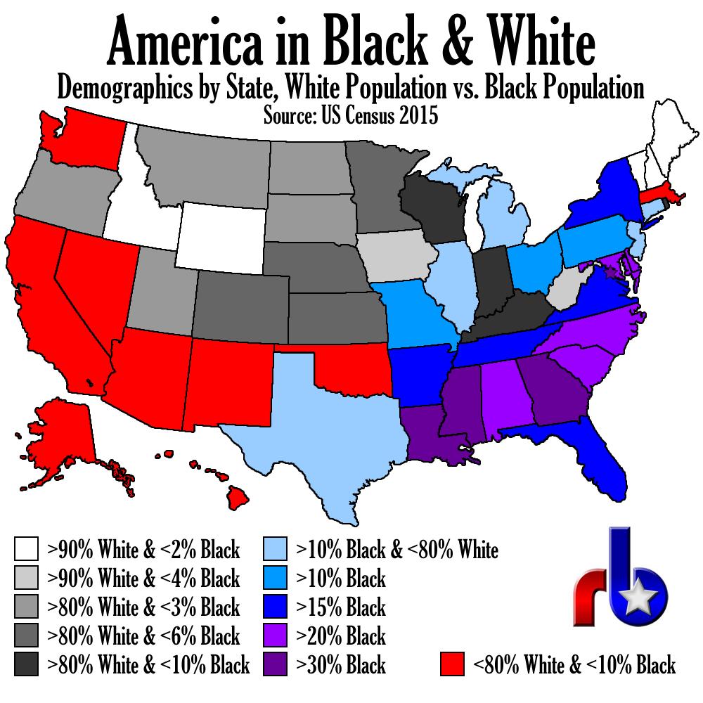 America in Black & White Map - or where the Gen-X white men are.