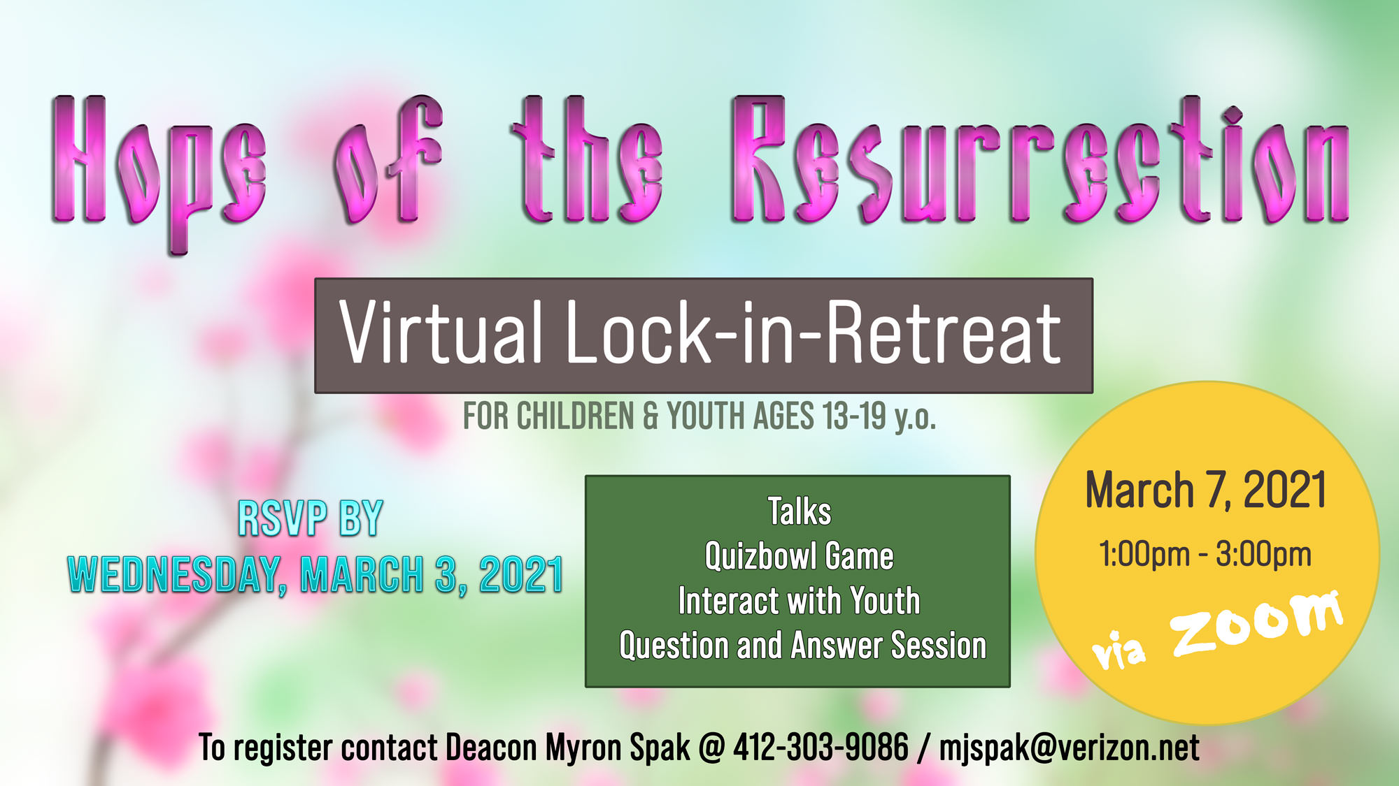 Youth Lock-In Retreat via Zoom on Sunday, March 7, 2021